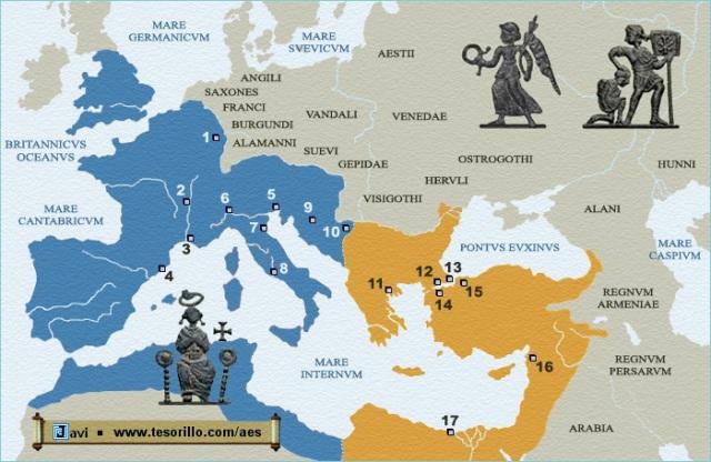 El imperio se divide en el año 395, quedando el occidentes para HONORIO y oriente para ARCADIO.