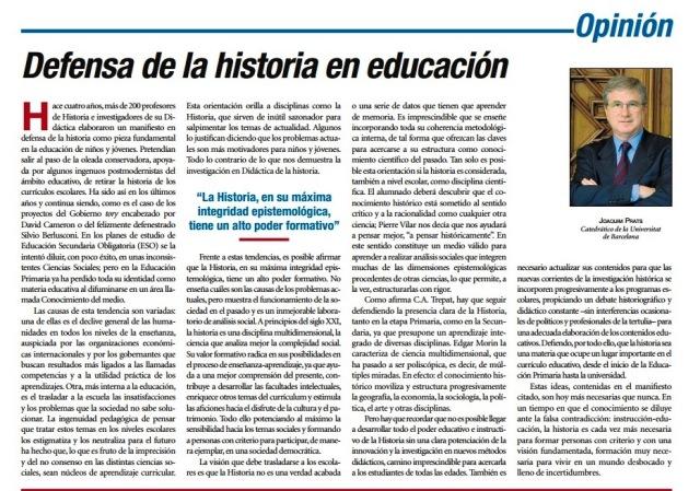 DEFENSA DE LA HISTORIA EN EDUCACIÓN, J. PRATS
