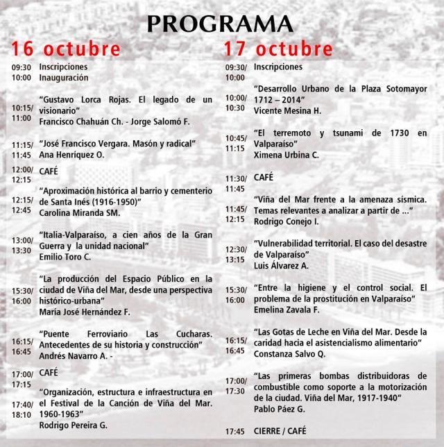 Programa Jornadas de Historia Viña del Mar, 2014