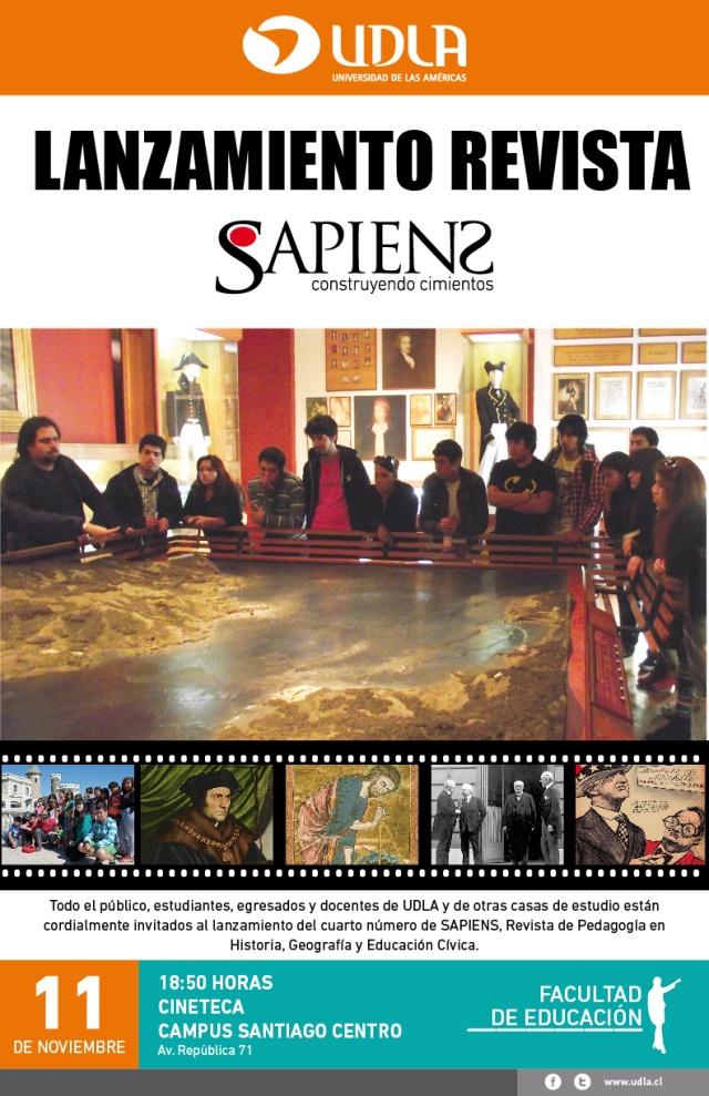 Afiche lanzamiento revista sapiens SC-01