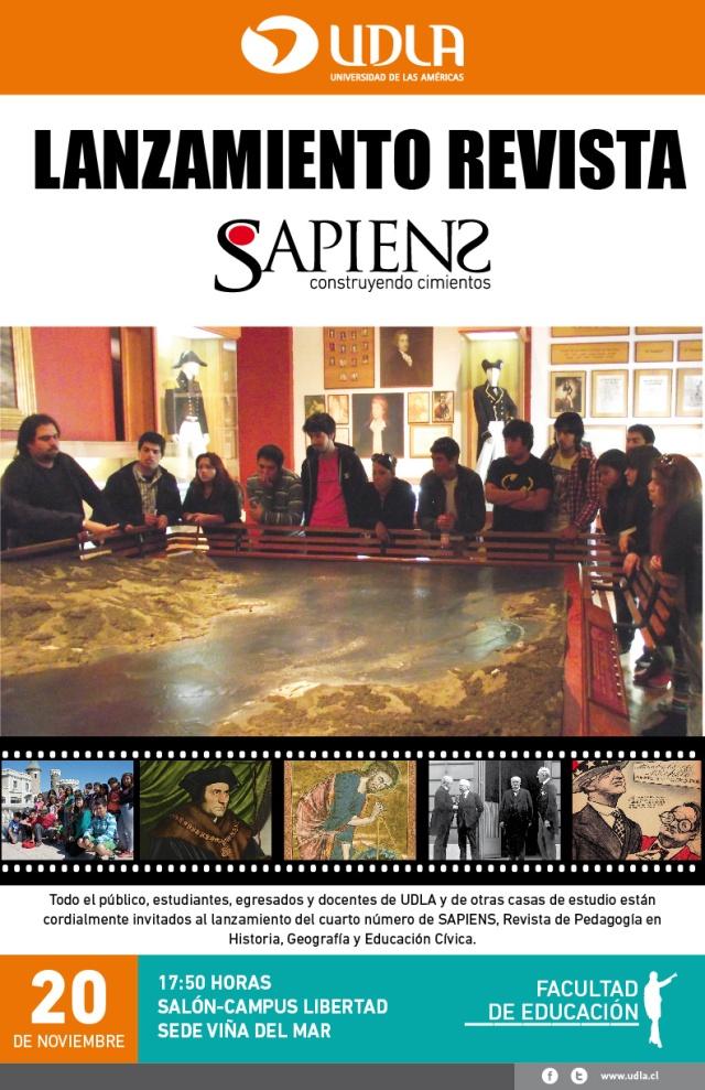 Afiche lanzamiento revista Sapiens