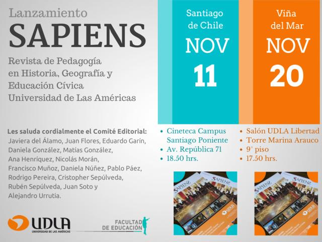 Invitación a asistir a lanzamiento de SAPIENS
